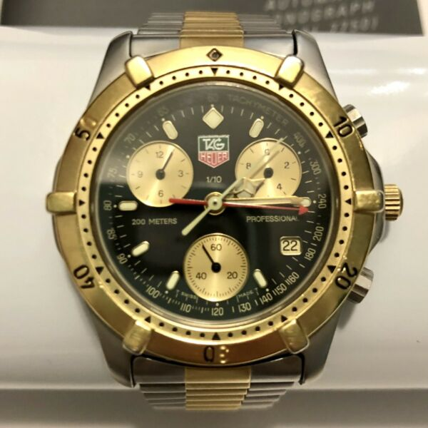 Tag Heuer 2000 Professional 565.306 Watch Mens Black Gold Chronograph CE1120