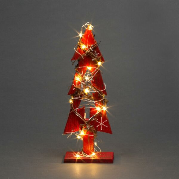 Red Wooden Tree LEDs Christmas Table Decorations Xmas Party Office Home Piece