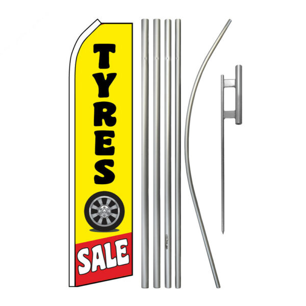 Advertising Swooper Flag Pole Kit Feather Flutter Banner Business Tyres Sale