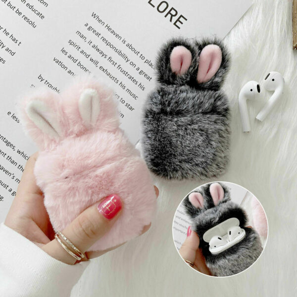 For Apple AirPods 1 2 Pro 3 Earphone Charging Case Furry Bunny Rabbit Cute Cover $7.99