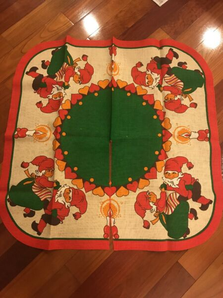 Vintage Swedish Burlap Tree Skirt Featuring Tomten; item is used; new condition