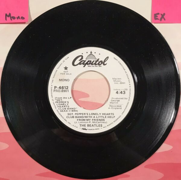 BEATLES 45. Capitol PROMO. 1977. SGT PEPPERS FRIENDS twice *Mono Stereo*. EX