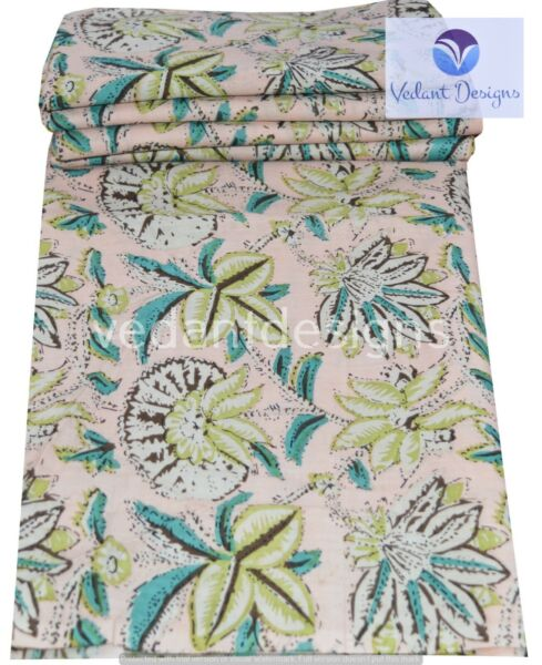 5 Yard Cotton Pink Hand Block Floral Print Fabric Natural Dyes Indian