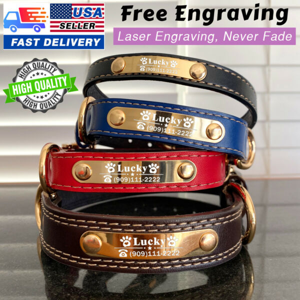 USA PU Personalized Dog Collars Name ID Collar Adjustable Dog Collar Tag XS XL $12.99