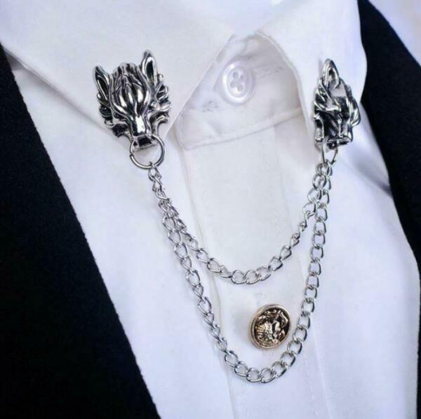 Stunning Silver Plated Vintage Look Authentic Wolf Collar Chain Brooch Pin B49Z GBP 11.99