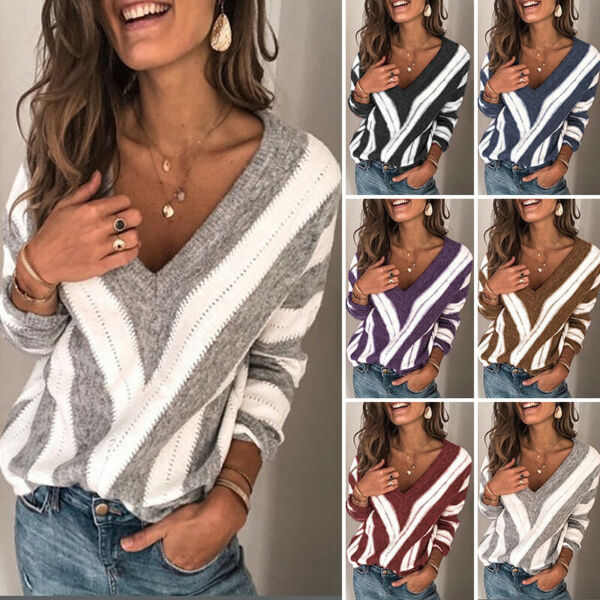 Women Knit Long Sleeve Pullover Striped Sweater Jumper V Neck Sexy Warm Tops