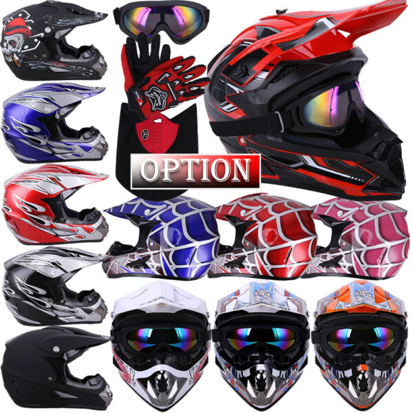 DOT Motocross Helmet Dirt Bike Offroad MX ATV Snowmobile BMX UTV Goggles Gloves $56.95