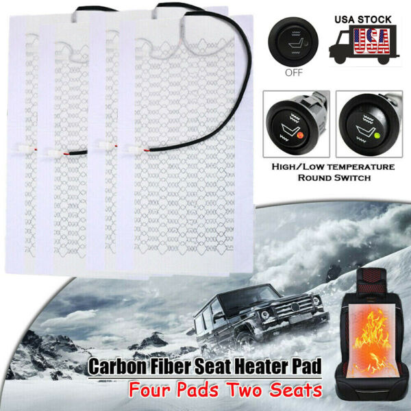 2 Seats Universal Car Carbon Fiber Heated Seat Heater Kit Hi Off Lo Switch 12V