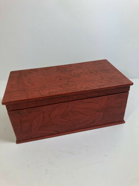 Vintage Wooden etc storage box floral cherry lined