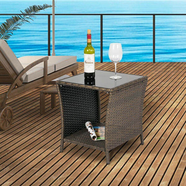 Outdoor Wicker Rattan Table Patio Side Coffee Table w Glass Top amp; Storage Shelf