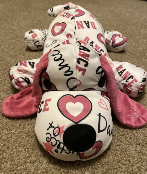 JUSTICE MICROBEAD DOG Pink Dance Hearts Puppy Plush PILLOW 18 $16.00