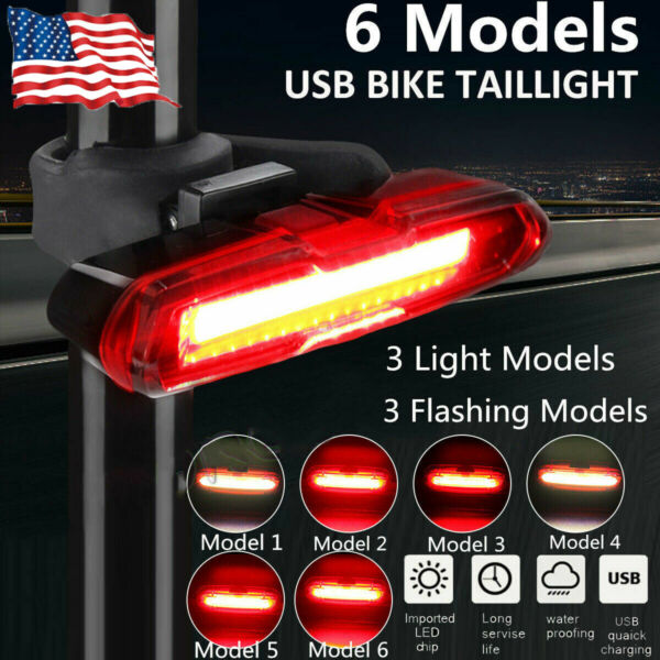 USB Bike Rear Tail Light LED Bicycle Warning Safety Smart Rechargeable Lamp Set $12.99