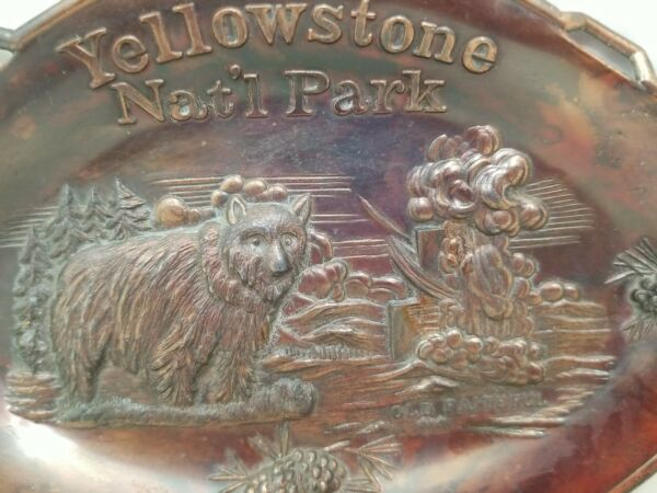 Vintage Pressed Copper Yellowstone National Park Tray Candy Nut Dish Souvenir C4 $20.00