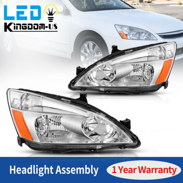 For Honda Accord 2003 2007 Chrome Housing Amber Corner Headlights Lamps Set