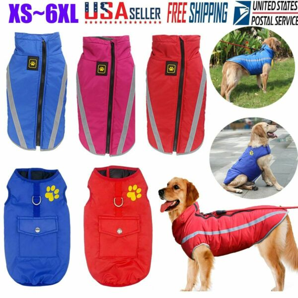 Pet Vest Jacket Warm Waterproof Pet Dog Clothes Winter Padded Small Large Coats $9.86