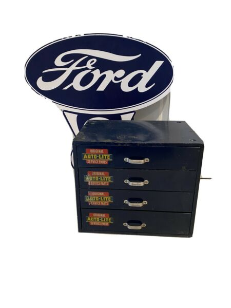 1950#x27;S VINTAGE FORD AUTOLITE PARTS CABINET DEALERSHIP FOMOCO ORIGINAL ROTUNDA