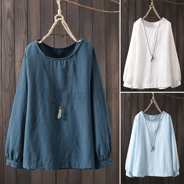 US STOCK Women Linen Cotton Crew Neck Shirt Casual Solid Tops Blouse T Shirt Tee