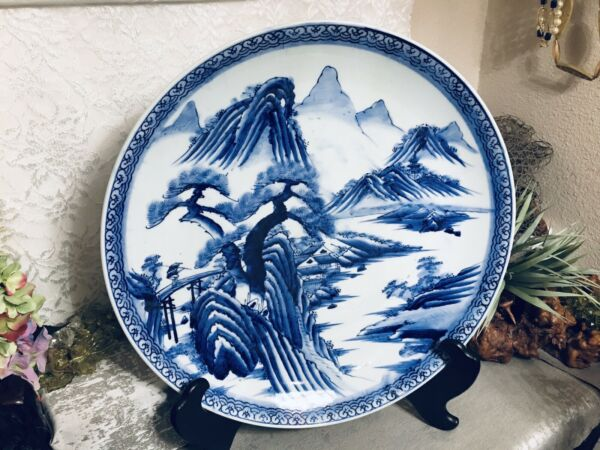 HUGE 18 JAPANESE BLUE WHITE IMARI PLATE Charger Signed Low Bowl