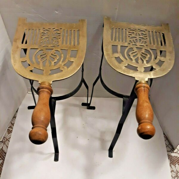 Pair Antique Wrought Iron amp; Brass Hand Forged Kitchen Trivet Fireplace Stands