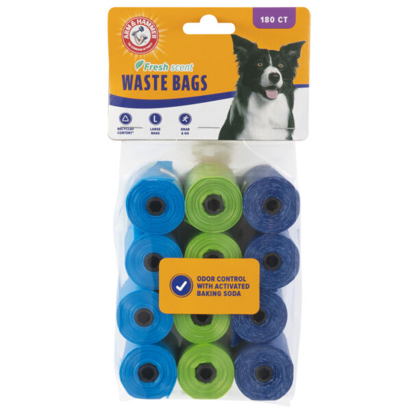 Arm And Hammer Disposable Dog Waste Bag Refills Assorted Colors 180 Count $17.04