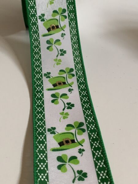 "10 Yds 2 1 2"" Wired White amp; Green Faux Burlap St Patrick's Day Ribbon"