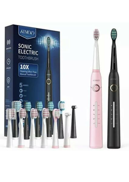 ATMOKO Sonic Duo Electric Toothbrush Adults 2Pack Black Pink. SEALED $42.00