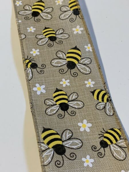 """10 Yds Of 2 1 2"""" Wired Faux Burlap Ribbon With Yellow amp; Black Bumble Bees Daisy"""