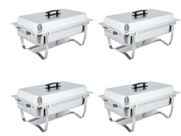 Set of 4 8 Qt. Full Size Stainless Steel Silver Catering Chafer Chafing Dishes
