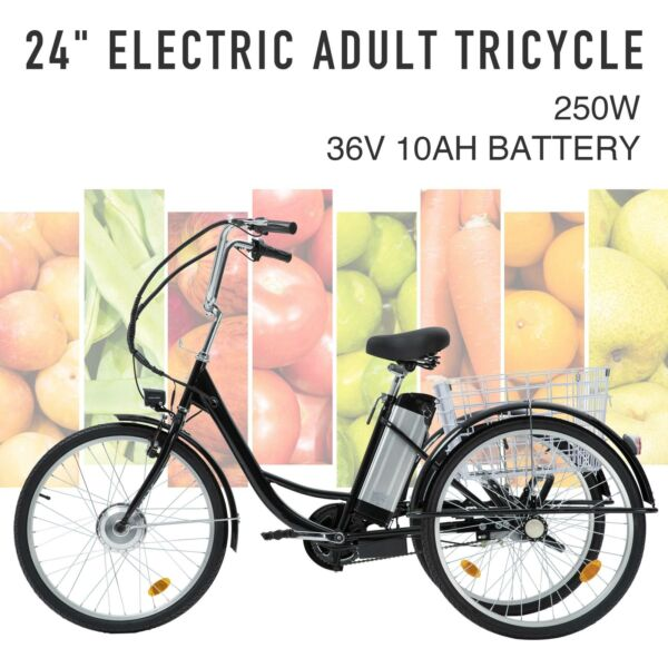 Adult Electric Tricycle 24quot; 250W 36V 10AH Lithium Battery w Basket $694.99