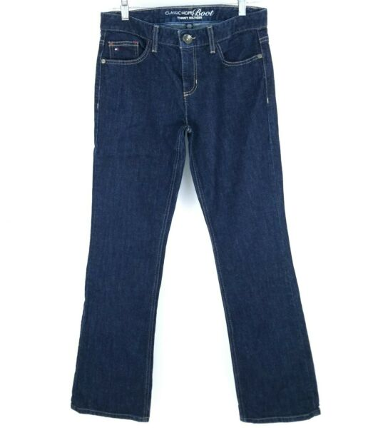 Tommy Hilfiger Womens Jeans Bootcut Stretchy Dark Blue Pants Size 8 R $17.99