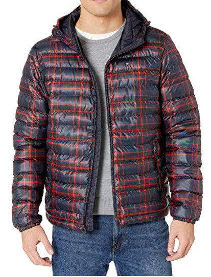 Tommy Hilfiger Men#x27;s Ultra Loft Hooded Logo Puffer Jacket NWT Navy Red Print $79.99