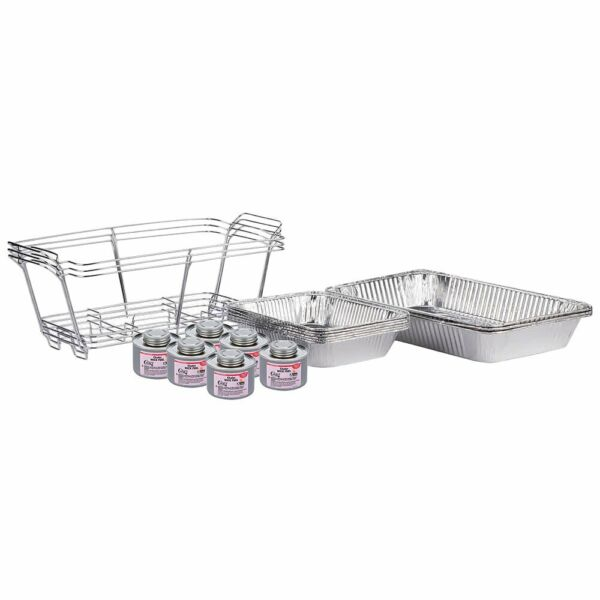 18 Piece Full Size Disposable Buffet Chafing Dish Kit with 6 6 Hour Fuel Cans