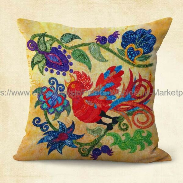 patio furniture cushion covers Mexican flower birds folk art cushion cover $14.99