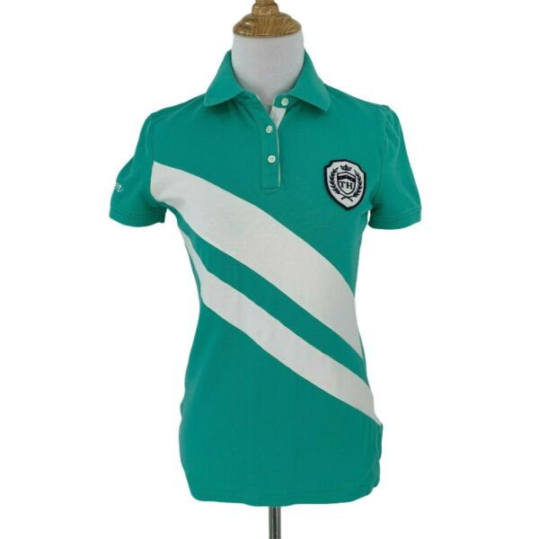 Tommy Hilfiger Polo Shirt Women#x27;s Size XS Striped Short Sleeve Equestrian Riding $21.94