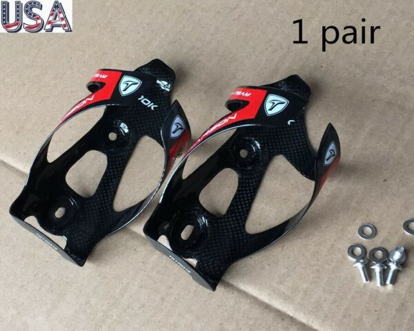 2pcs TOOK Carbon 3K Mountain MTB Road Bike Water Bottle Holder Cage w bolts Red