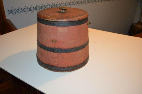 Super Antique Primitive Firkin Sugar Pantry Box Original Red Paint AAFA