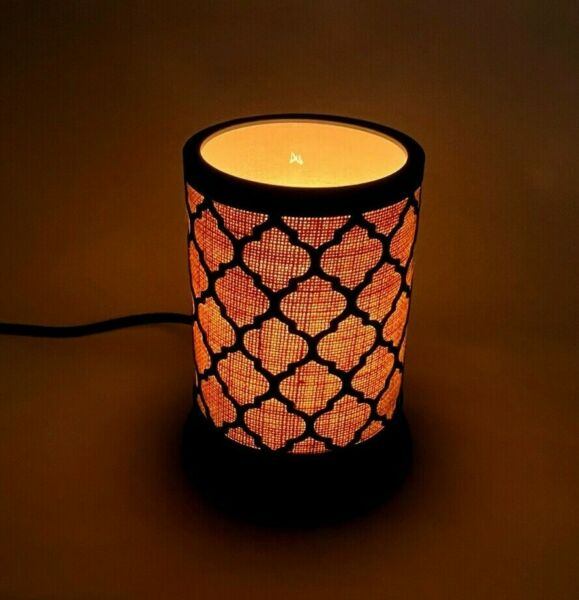TESTED Electric Candle Metal Glass Burlap Small 7quot; tall Table Lamp 25W Max