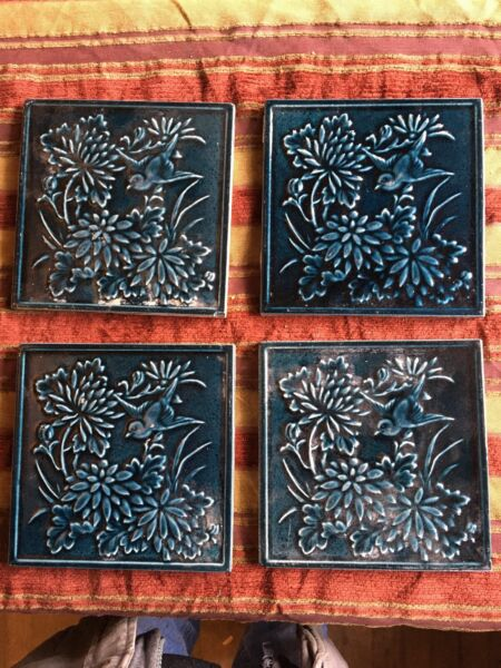 Vintage Fireplace Tiles With Birds