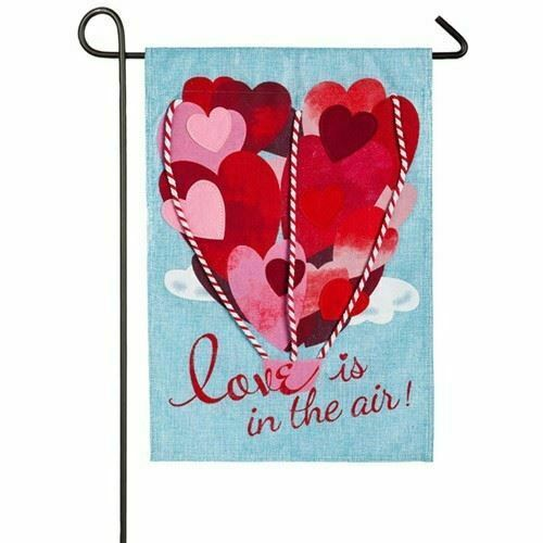 Love is in The Air 14B4015 Evergreen Burlap Garden Flag 12.5quot; x 18quot;