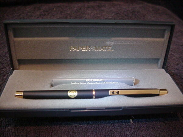 New In Box PAPERMATE Black amp; Gold Fountain Pen Med Point Made In W. Germany