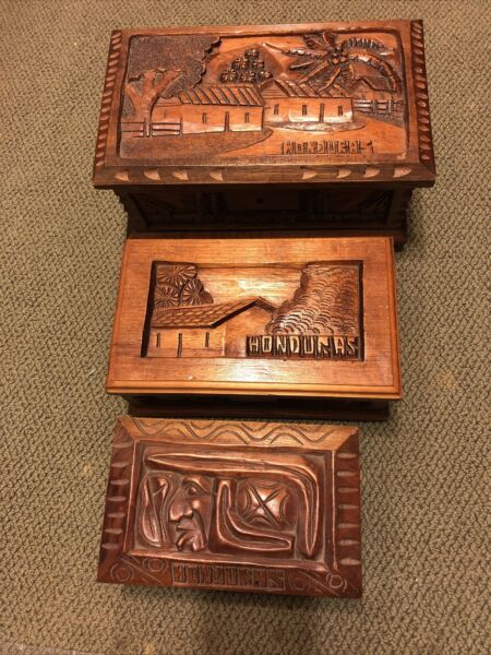 Vintage Hand Carved Hinged Wooden Boxes From Honduras Set Of 3