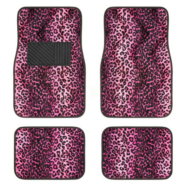 New 4PC Set Front and Rear Car Truck Pink Leopard Floor Mats Universal $22.95