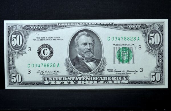 1969 $50 FEDERAL RESERVE NOTE ✪ GEM UNCIRCULATED ✪ FR# 2114 C UNC CU ◢TRUSTED◣