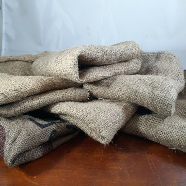 Burlap squares 6 count 12 inch used Cocoa Bean Bag rat rod farmhouse brown craft