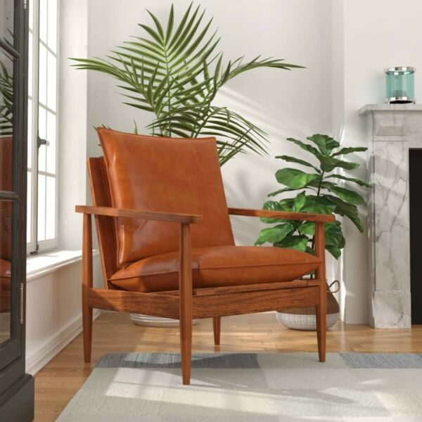 vidaXL Armchair Real Leather with Acacia Wood Chair Seat Furniture Brown Black $267.99