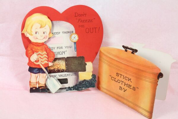 2 Vintage Valentine Greeting cards Furnace and copper clothes pot. $5.99