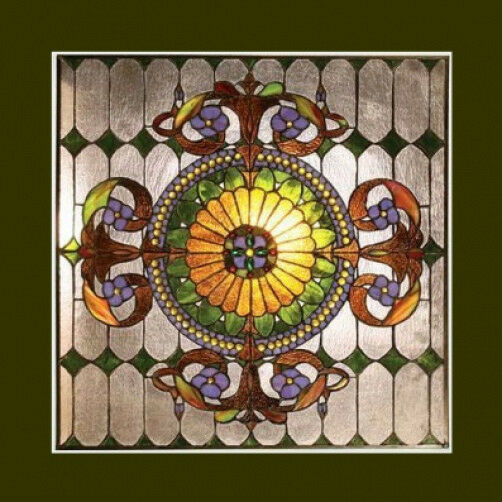 Window Panel Victorian Design Tiffany Style Stained Glass 25quot; Wide x 25quot; High