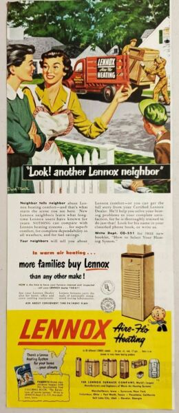 1951 Print Ad Lennox Furnace Aire Flo Heating World#x27;s Largest $8.98