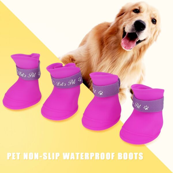 Pet Shoes Dog Waterproof Rain Boots Booties Silicone Shoes Candy Colors L Purple $8.80