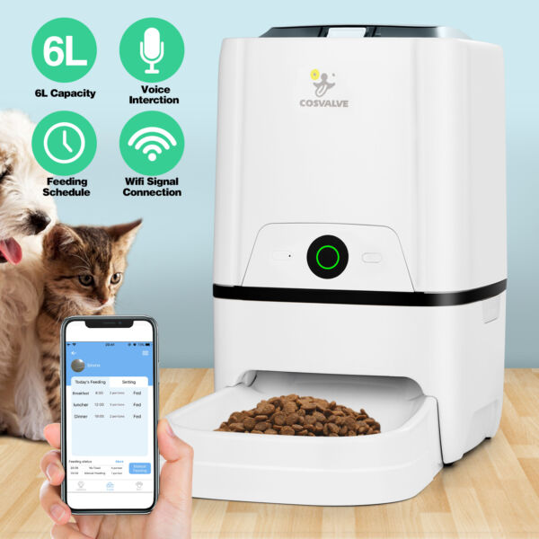 6L Smart APP Control Automatic Pets Feeder Dry Food Dispenser Cat Dog WiFi Timed $69.99